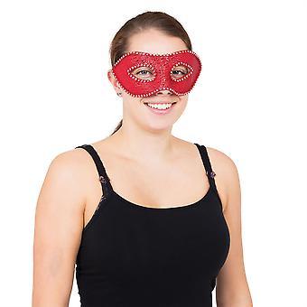 Red Eyemask W/Diamonds + Ribbon Tie
