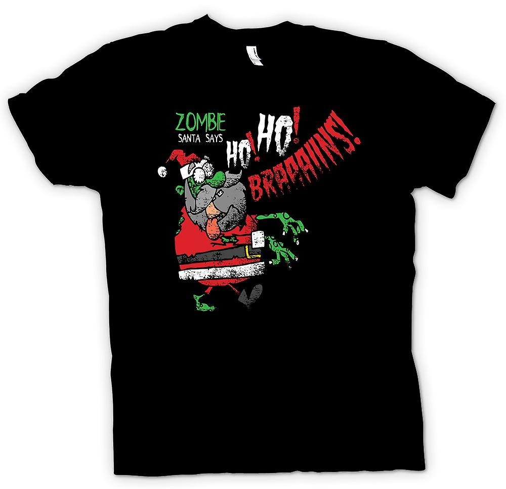 Kids T-shirt - Zombie Santa Says Ho Ho Brains - Funny