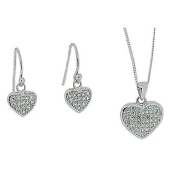 TOC Sterling Silver Clear Crystal Heart Earrings & Pendant Necklace 18