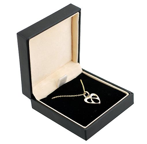 9ct Gold 16x15mm entwined heart pendant with Cable link chain