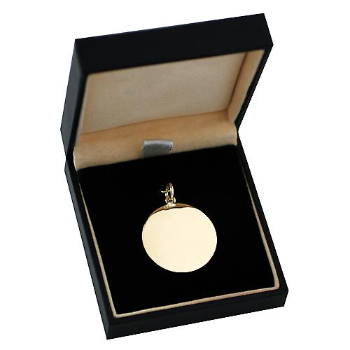 18ct Gold 25mm round medical alarm Disc