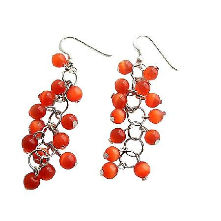 Dark Citrine Orange Beaded Earrings Sterling Silver Handmade Earrings