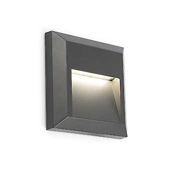Faro - Grant Dark Grey Square LED Outdoor Wall Light FARO70655
