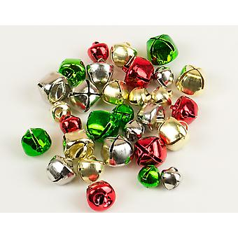 30 Christmas Colours Assorted Size Jingle Bells for Crafts