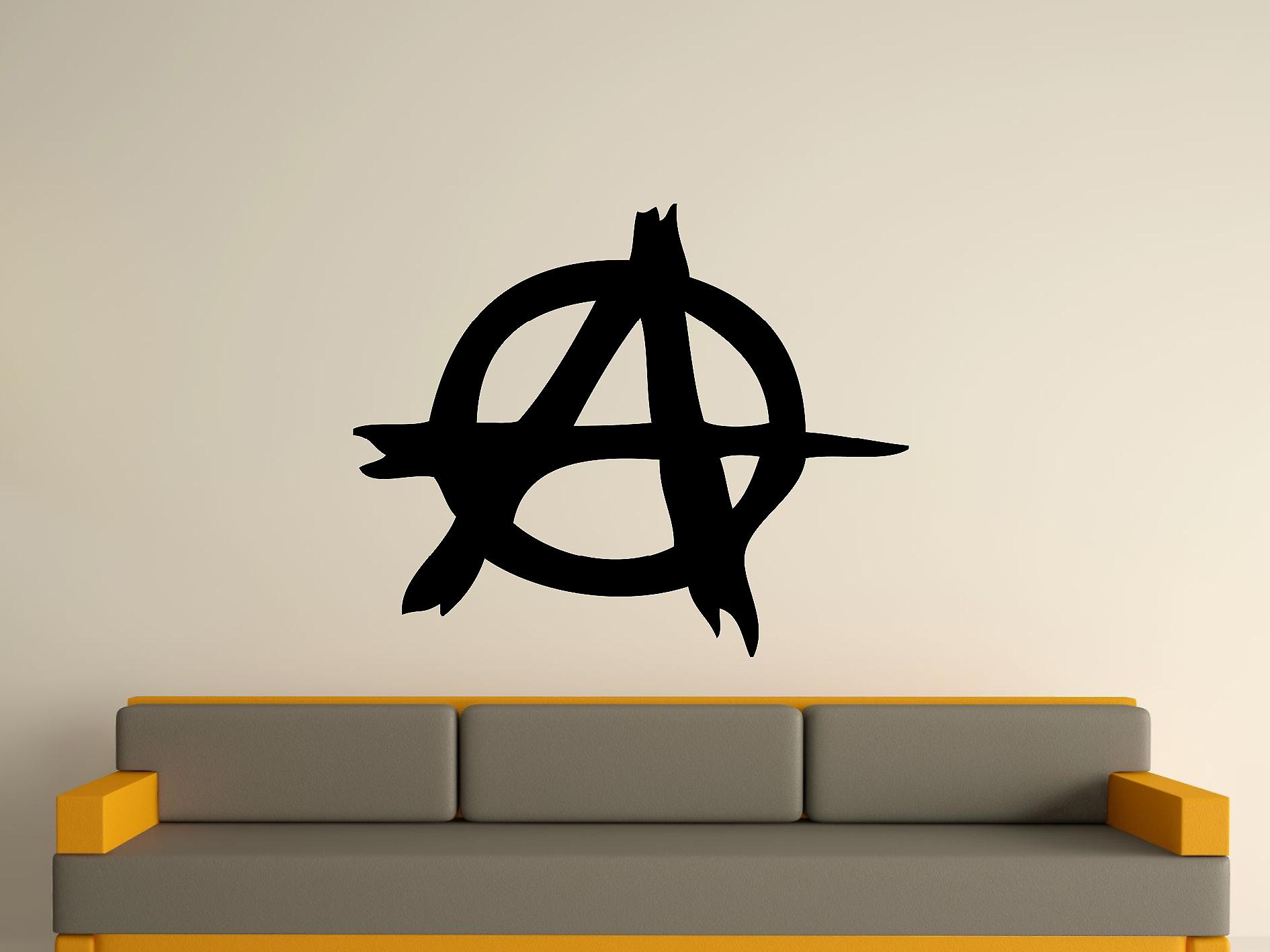 Anarchy symbool Wall Art Sticker - zwart