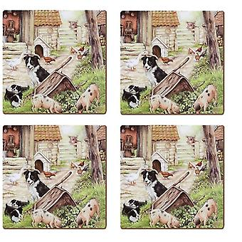 Pack of 4 Cork Backed Drinks Coasters - Farmyard Animals