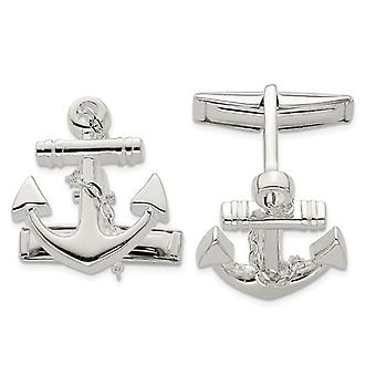 Anchor with Chain Cuff Links in Sterling Silver