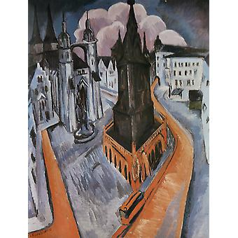 The Red Tower in Halle,Ernst Ludwig Kirchner,50x38cm