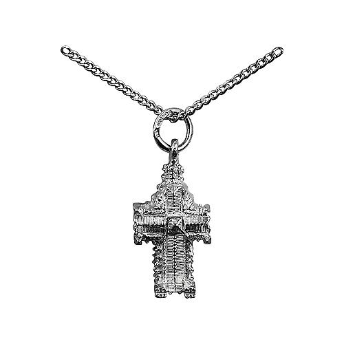 Silver 11x17mm hollow Westminster Abbey Pendant with a curb Chain 20 inches