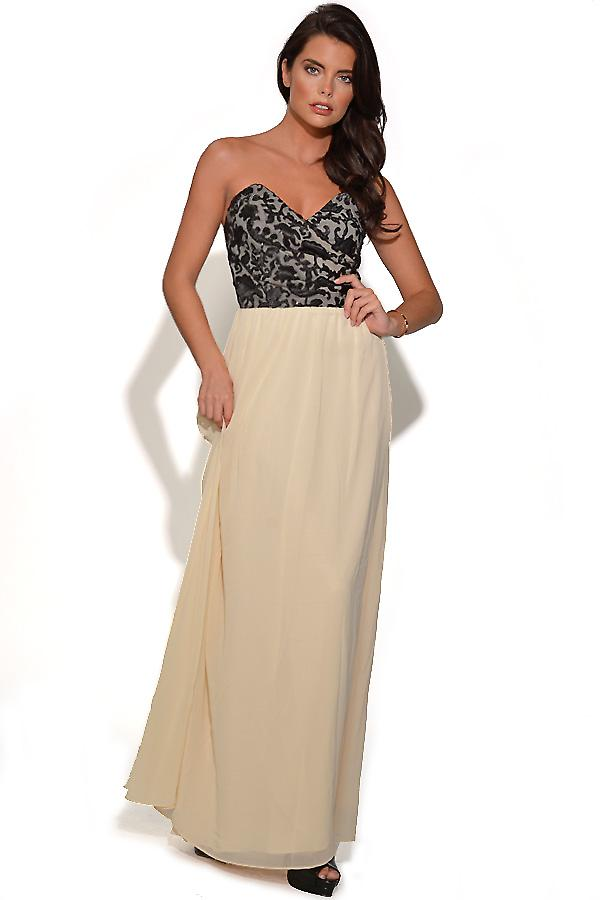 Black and Cream Flock Detail Bandeau Maxi Jurk