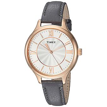 Timex Womens Peyton Gray/Rose Gold-Tone Leather Strap Watch TW2R27700