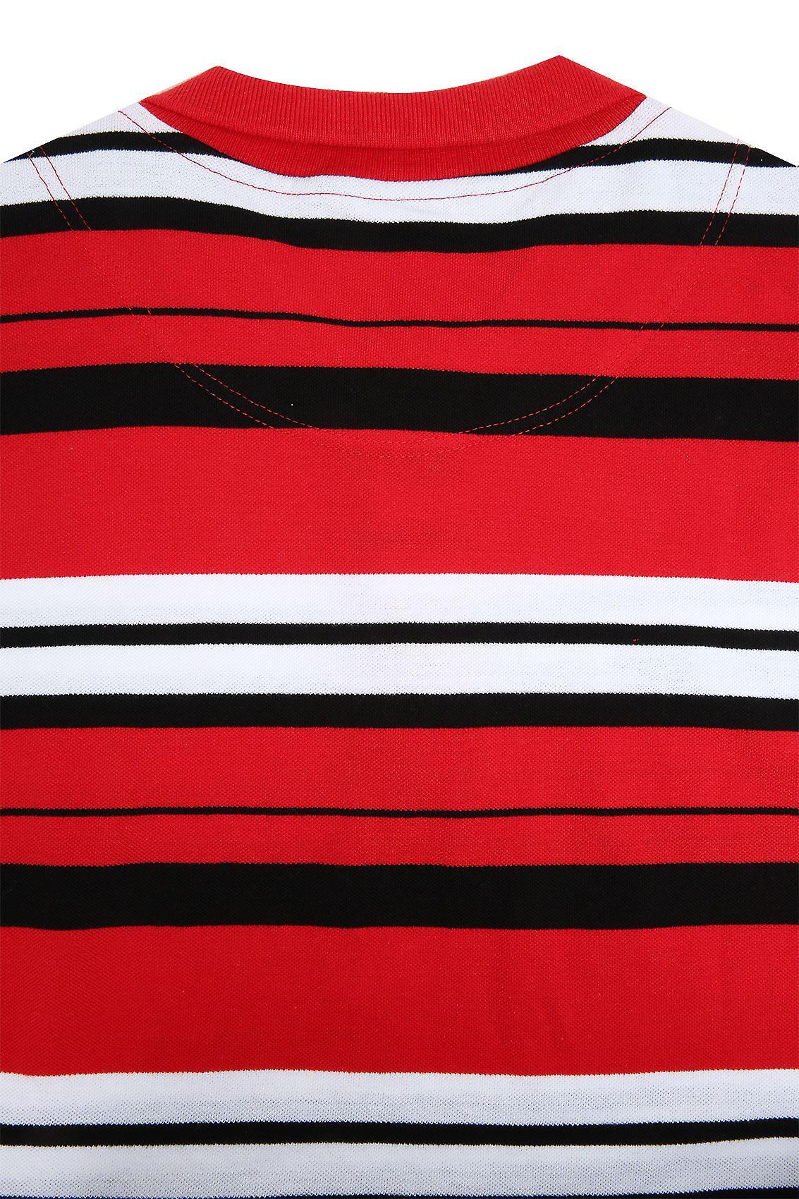 Red, White & Black Stripe Short Sleeve Polo Shirt