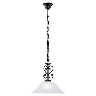 EGLO - Murcia svart traditionella tak hänge med Alabaster glas EG91002