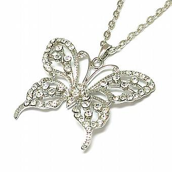 TOC Silvertone Clear Rhinestone Set Butterfly Pendant on 25 Inch Chain