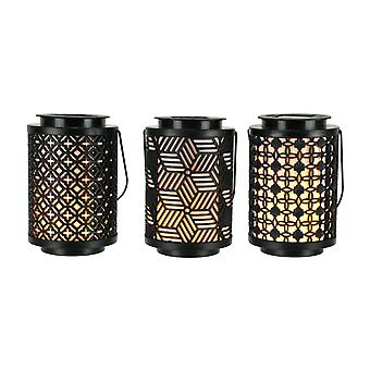 Black Outdoor Solar Lanterns with LED Flickering Flame Set of 3