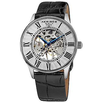 Akirbos XXIV AK499SS Slim Men's White Dial Mechanical Silver-Tone Watch