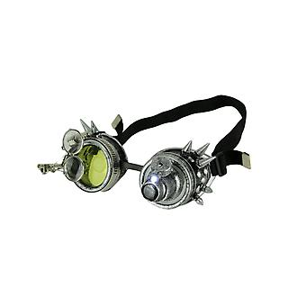 Retro LED Light Up Steampunk Goggles with Yellow/Smoke Lens and Ocular Loupes