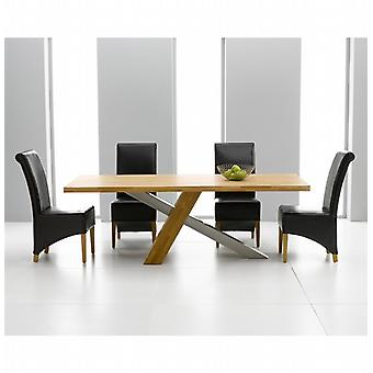 Montana 2.25m Oak & Steel Dining Set With 8 Brown Bromley Chairs