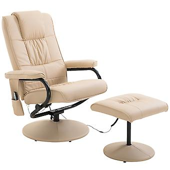 HOMCOM Faux Leather Massage Recliner Chair Easy Sofa Armchair Beauty Couch Bed with Foot Stool Cream