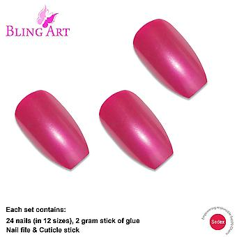 False nails by bling art red glitter ballerina coffin 24 fake long acrylic tips