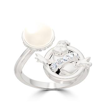 Ghostbusters Diamant - Perle Logo Ring In Sterling Silber