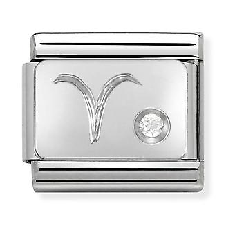 Nomination Classic Aries Zodiac Steel, CZ and 925 Silver Link Charm 330302/01