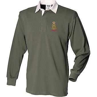 Royal Horse Artillery RHA veteraan-gelicentieerd Britse leger geborduurd lange mouw rugby shirt