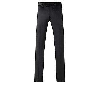 Dobell Mens Black Velvet Trousers Regular Fit