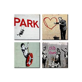 Artgeist Canvas Print Banksy Urban Inspiration (Decoratie , Schilderijen , Doeken)