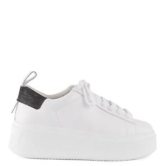 Ash Footwear Moon White And Black Leather Platform Trainer