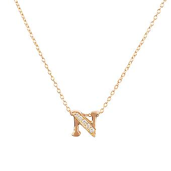 White Diamond Initial Pendant Necklace Letter Name Pink Rose Gold Personalised N