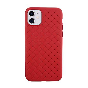 iPhone 11 Case Weave Texture Back Shell Burgundy