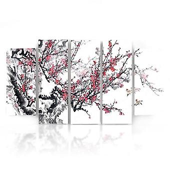 Five Part Picture On Canvas, Pentaptych, Type B, Japanese Cherry