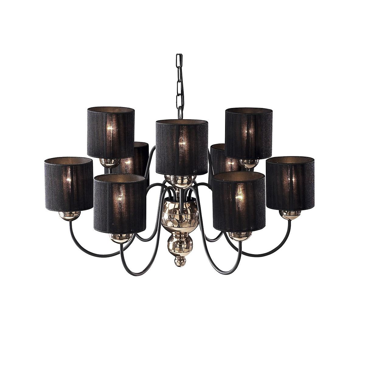 David Hunt GAR1363 Garbo 9 Light Pendant In A Bronze Finish With Black String Shades