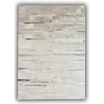 Rugs -Patchwork Leather Cowhide - ST15 Grey Stripes
