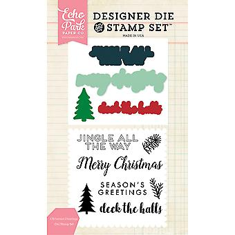 Echo Park Die & timbre Combo Set-Christmas Greetings EPDIST52