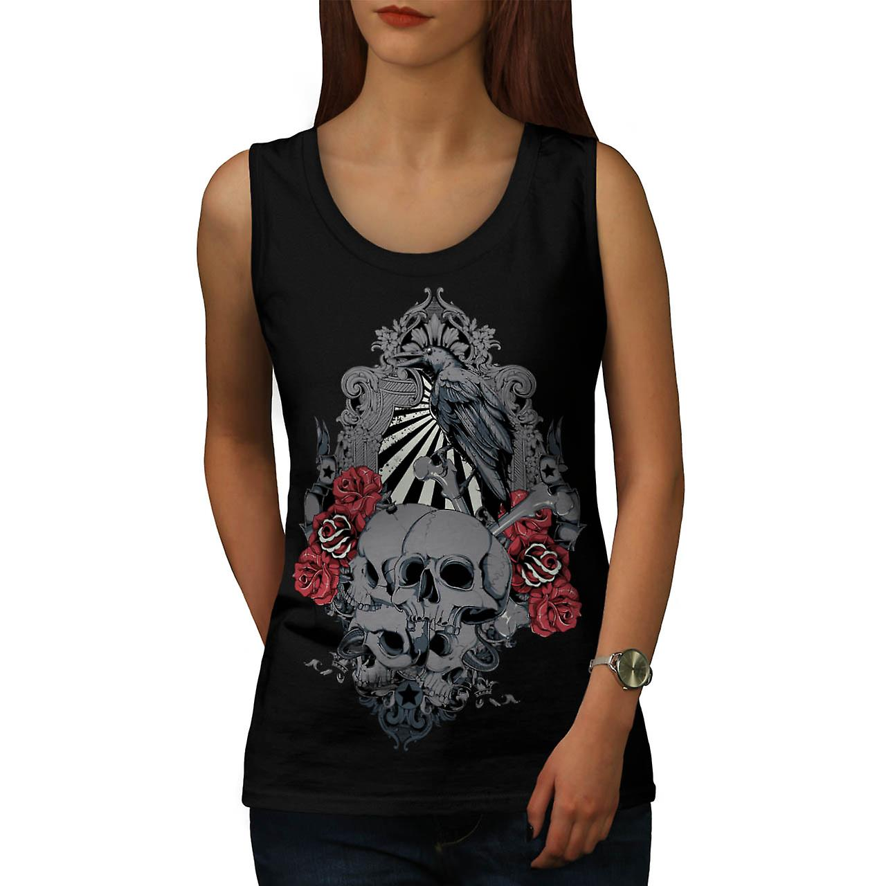 Rose Crow Creepy Skull Women Black Tank Top | Wellcoda