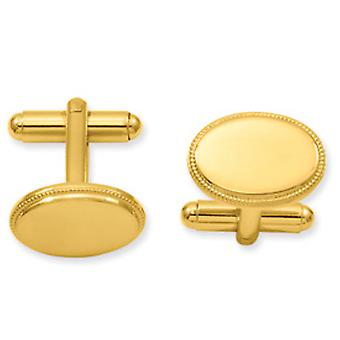 Gold-Flashed Solid Polished Gift Boxed Engravable (front only) Oval Beaded Cuff Links