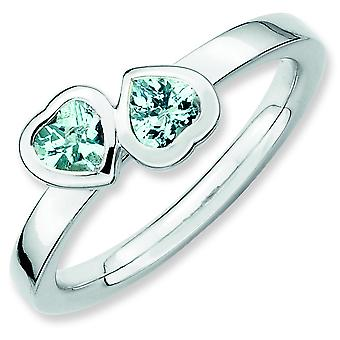 Sterling Silver Bezel Polished Rhodium-plated Stackable Expressions Aquamarine Double Heart Ring - Ring Size: 5 to 10