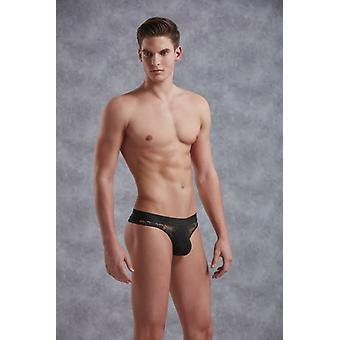 Thong With Floral Pattern-Black