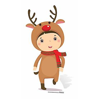 Mini Reindeer Boy Cardboard Cutout / Standee / Stand Up