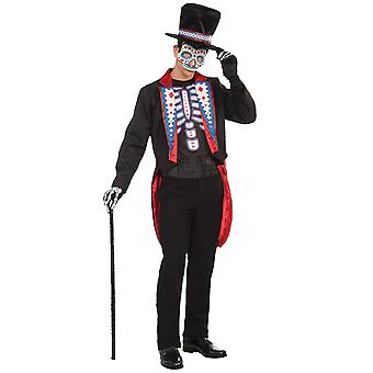Day Of The Dead Skulls Bones Skeleton Mexico Spanish Tuxedo Men Costume