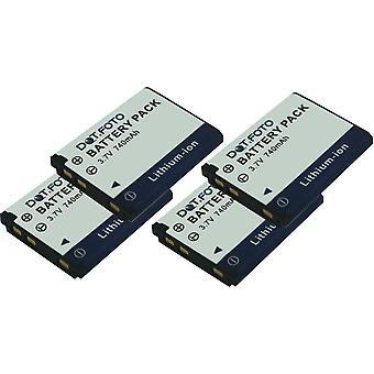 4 x Dot.Foto GE GB / 10 GB-10A, DS5370 Ersatz-Akku - 3,7V / 740mAh
