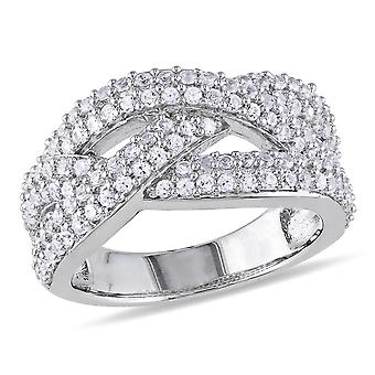 Created White Sapphire 1 1/4 Carat (ctw) Braided Ring In Sterling Silver