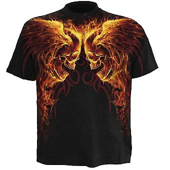 Spiral - BURN IN HELL - Wrap Around Short Sleeve T-Shirt .