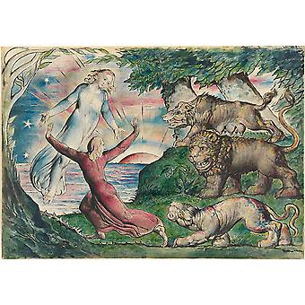 William Blake - Dante fugindo as três bestas Poster Print Giclée