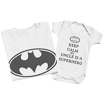 Keep Calm My Uncle Is A Superhero Matching Uncle Baby Gift Set White