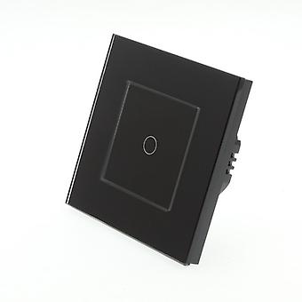 I LumoS Black Glass Frame 1 Gang 1 Way WIFI/4G Remote & Dimmer Touch LED Light Switch Black Insert