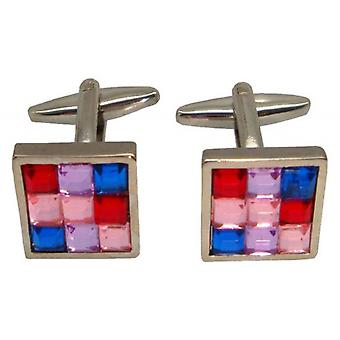 Bassin and Brown Multi Square Cufflinks - Pink/Blue/Silver