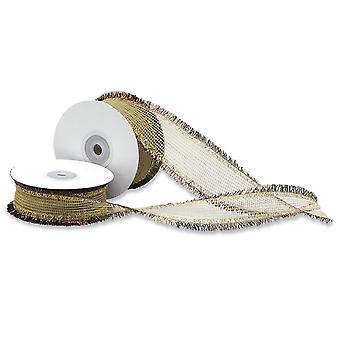 25mm Wide Gold Woven Ribbon with Tinsel Edge for Christmas Crafts - 15m